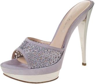 Casadei Lilac Suede Crystal Embellished Platform Open Toe Platform Slide Sandals Size 39