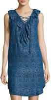 Neiman Marcus Ikat-Print Sleeveless Chambray Dress, Indigo