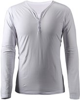 4How Mens Henley Long Sleeve T-shirt Solid White Size M