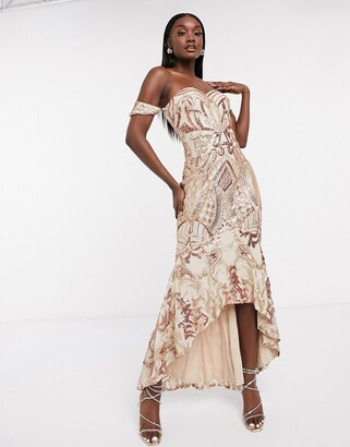 Bariano bardot high low patterned sequin maxi dress in rose gold