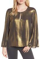 Bardot Pleat Sleeve Metallic Top