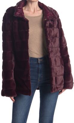 Kensie Quilt Design Faux Fur Jacket