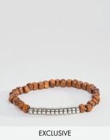Reclaimed Vintage Wood & Silver Beaded Bracelet