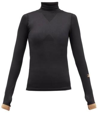 Reebok x Victoria Beckham Logo-intarsia Roll-neck Ribbed-knit Top - Black