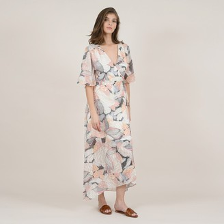 Molly Bracken Floral Wrapover Maxi Dress with Short Floaty Sleeves