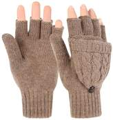 Novawo Fashion Style Women Winter Wool Blend Fingerless Convertible Gloves