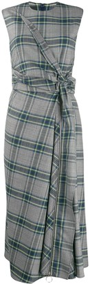 Cédric Charlier plaid knot detail dress
