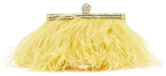 Jimmy Choo Celeste Crystal-embellished Feather Clutch - Womens - Yellow