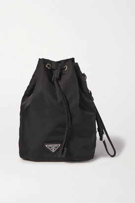 Prada Textured Leather-trimmed Nylon Bucket Bag - Black