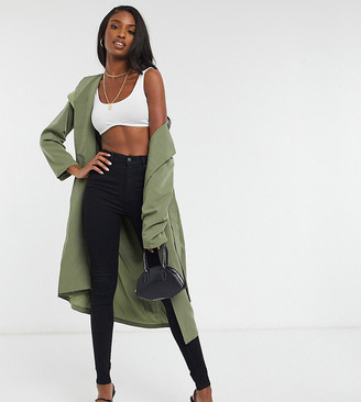 4th & Reckless Tall duster coat with belt in khaki
