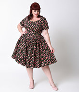 Unique Vintage Plus Size Black Floral Roman Holiday Sleeved Scallop Swing Dress