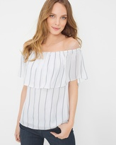 White House Black Market Petite Off-The-Shoulder Stripe Blouse