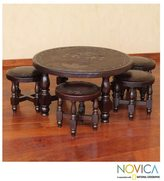 Novica Inca Legend Brown Tooled Leather and Cedar Wood Living or Family Room Four Nesting Stools with Table Furniture Set (Peru)