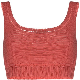 She Made Me Indra crocheted cotton crop top