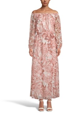 INC International Concepts Inc Paisley-Print Off-The-Shoulder Maxi Dress, Created for Macy's