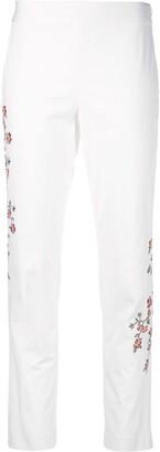 Josie Natori Embroidered Slim Pant