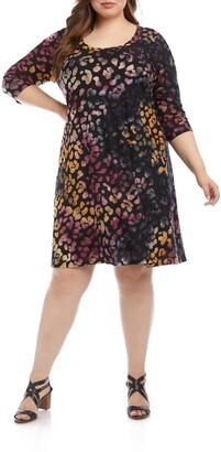 Karen Kane Tie Dye Burnout Leopard Spot Dress