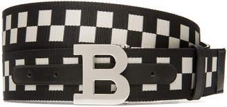 Bally Men's B-Buckle Checkered Web Belt