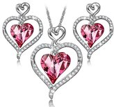 """LADY COLOUR LadyColour """"Rose Lover"""" Heart Jewelry Set, Necklace And Earrings Set, Made With Swarovski Crystals"""