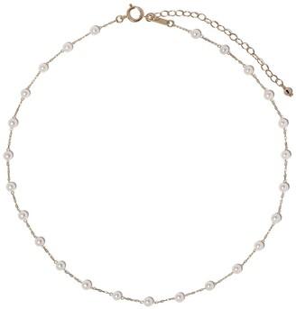 Mizuki 14kt yellow gold Akoya pearl short chain necklace