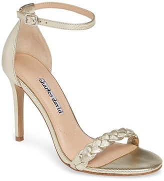 Charles David Camomile Metallic Braided Ankle Strap Sandal