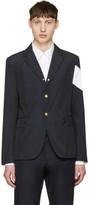 Moncler Gamme Bleu Navy Contrast Sleeve Blazer