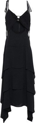 Proenza Schouler Cutout Tiered Ring-embellished Draped Crepe Maxi Dress