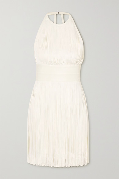 Herve Leger Open-back Fringed Bandage Halterneck Mini Dress - White