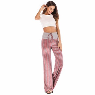 Momoxi 2019 Summer Newest Arrival Discount Women's Sports Trousers Pants Legging Daily Casual Loose Stripe Stretchy Wide Leg Palazzo Lounge Long Running Tights with Side Pocket Cool Back Bottoms