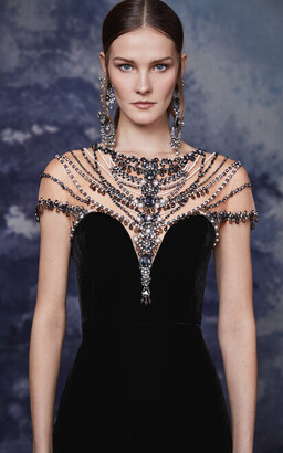 Marchesa Illusion Neckline Velvet Cocktail