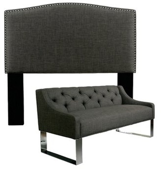 Almodovar Upholstered Panel Headboard and Sofa Bench Darby Home Co Size: Queen/Full, Upholstery: Grey