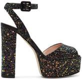 Giuseppe Zanotti SSENSE Exclusive Black Glitter Lavinia Platform Sandals