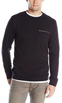 Calvin Klein Men's Long Sleeve Solid Quilted Terry Crew Neck