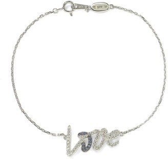 Suzy Levian Sterling Silver Blue Sapphire, Created White Sapphire, & Brown Diamond Love Script Bracelet