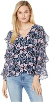 Vince Camuto Tiered Ruffle Long Sleeve Charming Floral Blouse (Classic Navy) Women's Clothing
