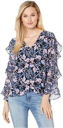 Vince Camuto Tiered Ruffle Long Sleeve Charming Floral Blouse