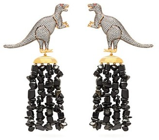 BEGÜM KHAN Dino Beluga Crystal-pave Gold-plated Clip Earrings - Womens - Green Multi