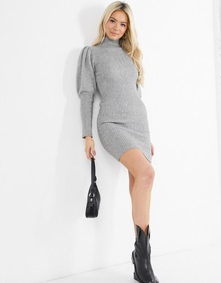 Qed London high neck puff sleeve jumper dress in grey