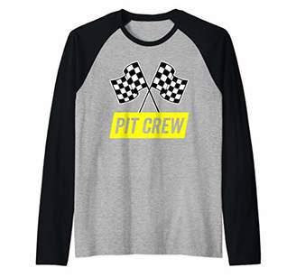 Yellow Italic Pit Crew for Racing Party Costume Raglan Baseball Tee