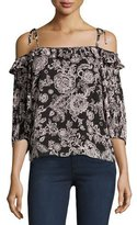 Ella Moss Off-the-Shoulder Floral-Print Blouse, Black