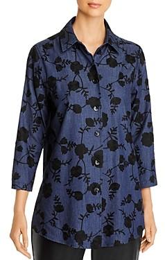 Caroline Rose Embroidered Chambray Boyfriend Shirt