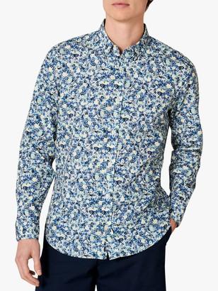 Jaeger Painted Floral Print Shirt, Blue