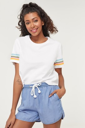Ardene Striped Sleeves Boxy Tee