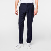 Paul Smith Men's Mid-Fit Navy Subtle-Check Wool Trousers
