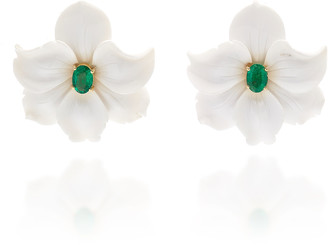 CASA CASTRO 18K Gold Diamond and White Agate Flower Earrings