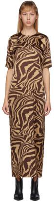 Ganni Brown Silk Tannin Dress
