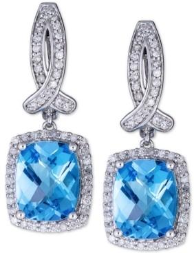 Macy's Swiss Blue Topaz (6 ct. t.w.) & Diamond (1/2 ct. t.w.) Drop Earrings in 14k White Gold