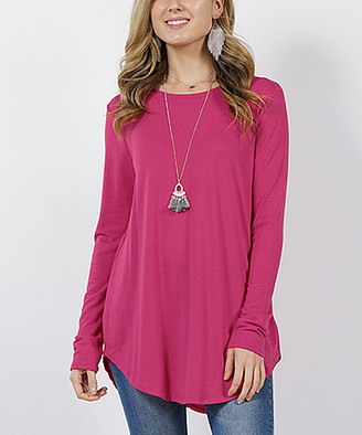 Lydiane Women's Tunics MAGENTA - Magenta Crewneck Long-Sleeve Curved-Hem Tee - Women
