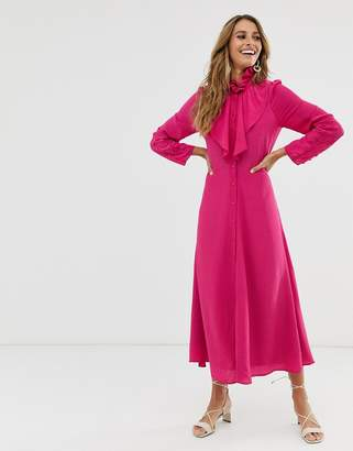 And other stories & maxi dress with button and neck detail in fuschia-Purple