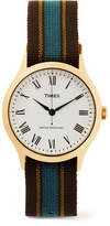 Timex Archive Whitney Avenue Gold-tone And Striped Grosgrain Watch - Brown